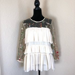 Entro Tiered Floral Sleeves Top